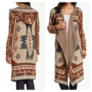 14th & union tribal knit hoodie brown aztec
